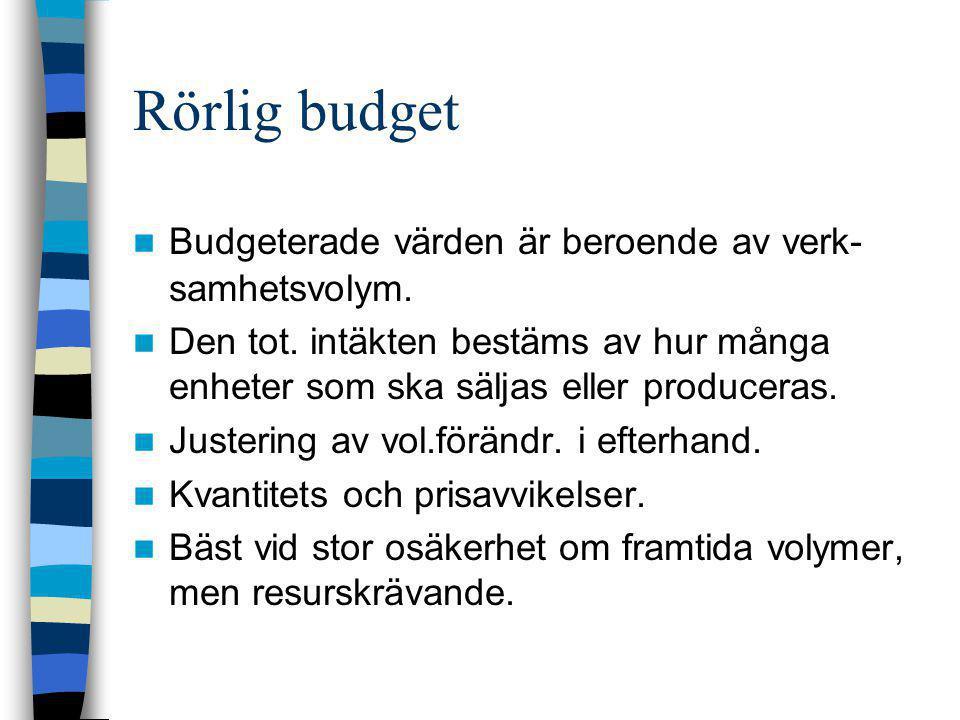 Rörlig budget  Budgeterade värden är beroende av verk- samhetsvolym.  Den tot. intäkten bestäms av hur många enheter som ska säljas eller produceras