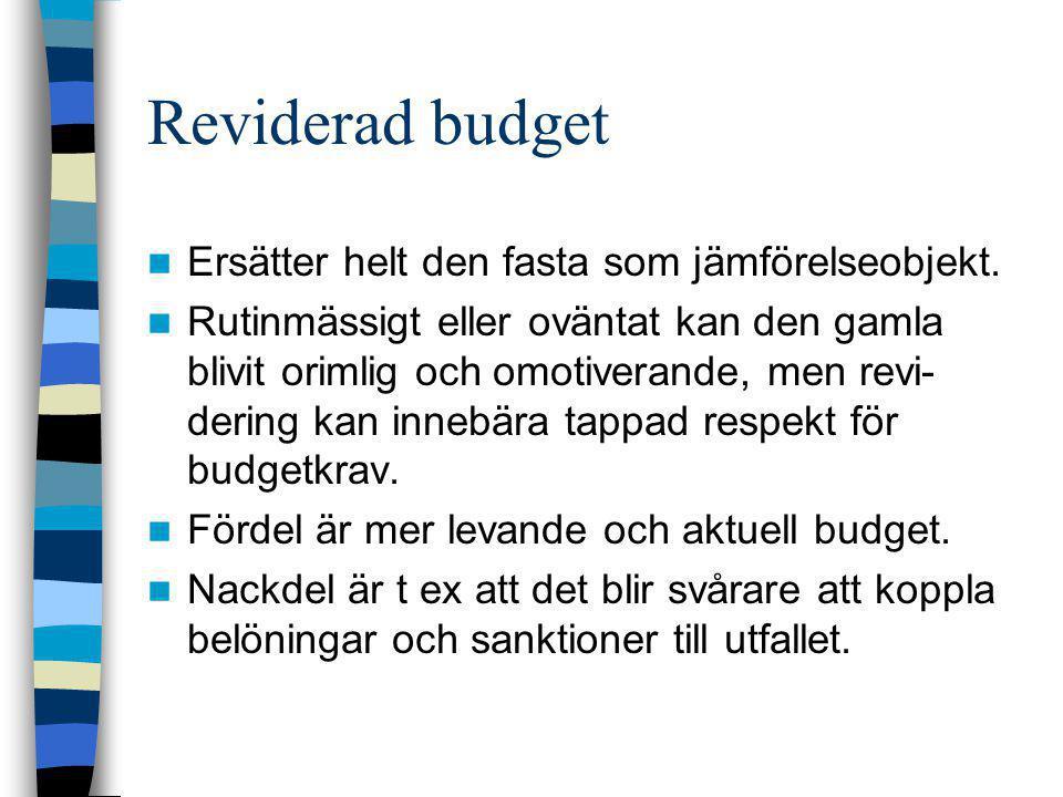 Reviderad budget  Ersätter helt den fasta som jämförelseobjekt.  Rutinmässigt eller oväntat kan den gamla blivit orimlig och omotiverande, men revi-