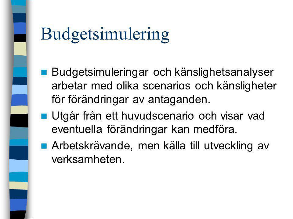 Budgetsimulering  Budgetsimuleringar och känslighetsanalyser arbetar med olika scenarios och känsligheter för förändringar av antaganden.  Utgår frå