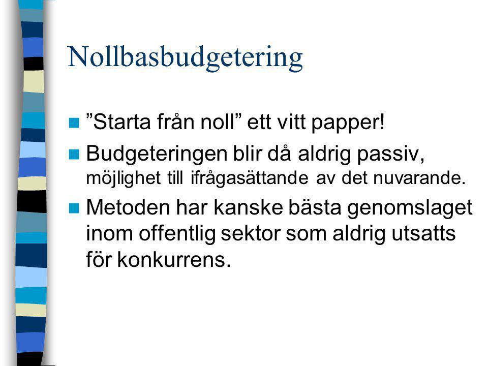 """Nollbasbudgetering  """"Starta från noll"""" ett vitt papper!  Budgeteringen blir då aldrig passiv, möjlighet till ifrågasättande av det nuvarande.  Meto"""
