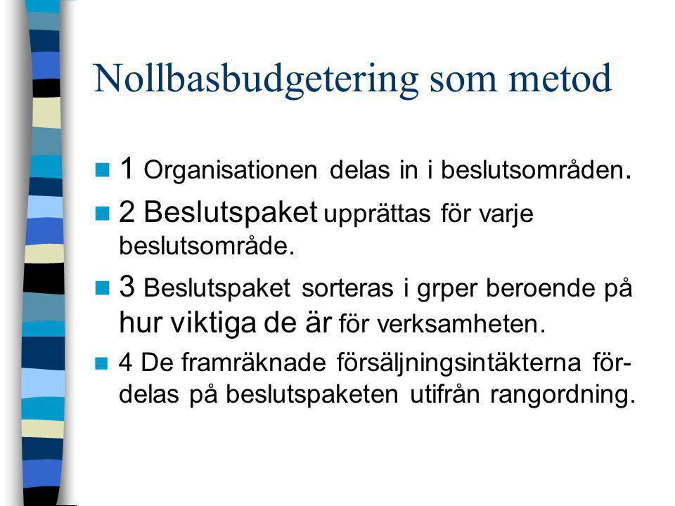 Nollbasbudgetering som metod  1 Organisationen delas in i beslutsområden.  2 Beslutspaket upprättas för varje beslutsområde.  3 Beslutspaket sorter