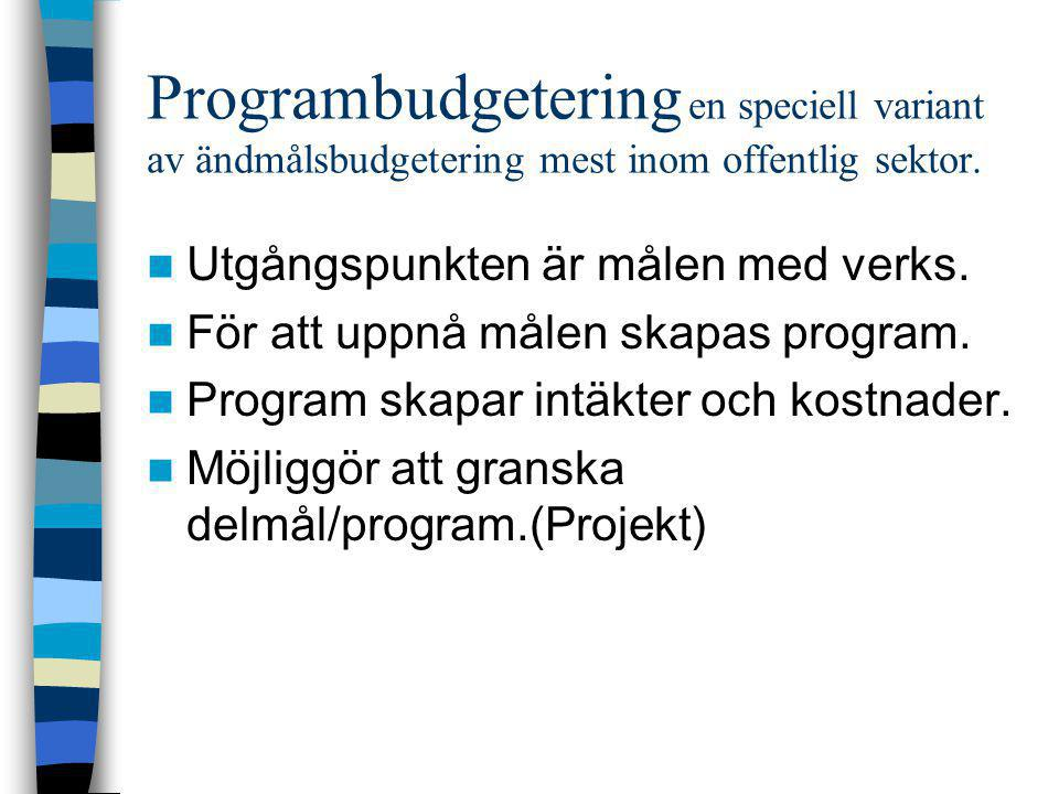Programbudgetering en speciell variant av ändmålsbudgetering mest inom offentlig sektor.  Utgångspunkten är målen med verks.  För att uppnå målen sk