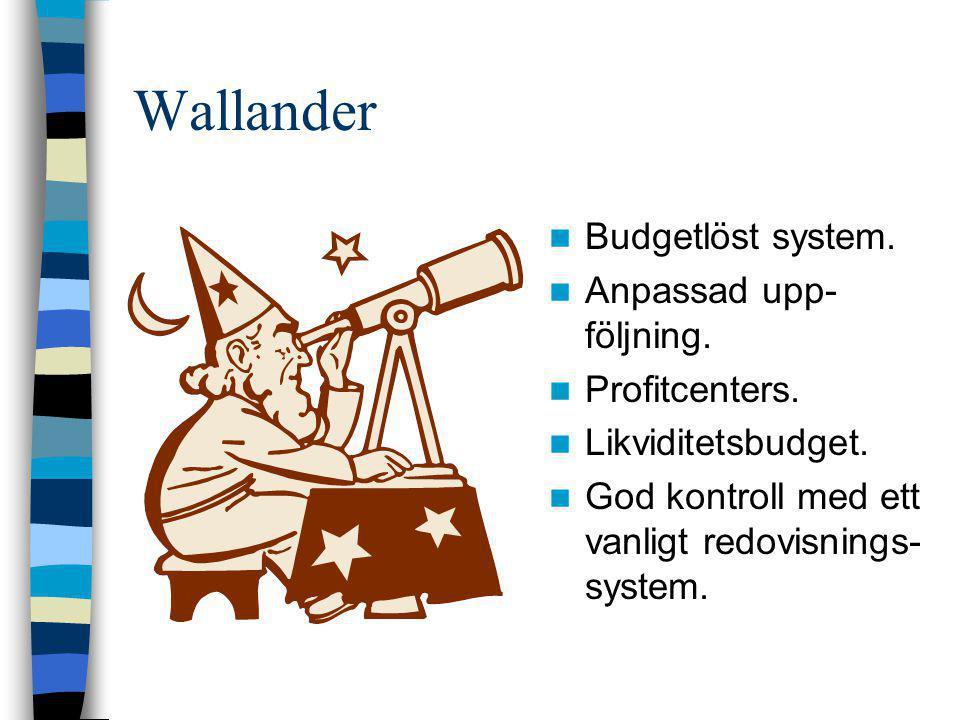 Wallander  Budgetlöst system.  Anpassad upp- följning.  Profitcenters.  Likviditetsbudget.  God kontroll med ett vanligt redovisnings- system.