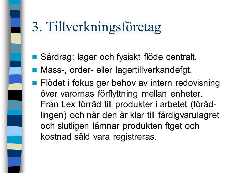 3. Tillverkningsföretag  Särdrag: lager och fysiskt flöde centralt.  Mass-, order- eller lagertillverkandefgt.  Flödet i fokus ger behov av intern