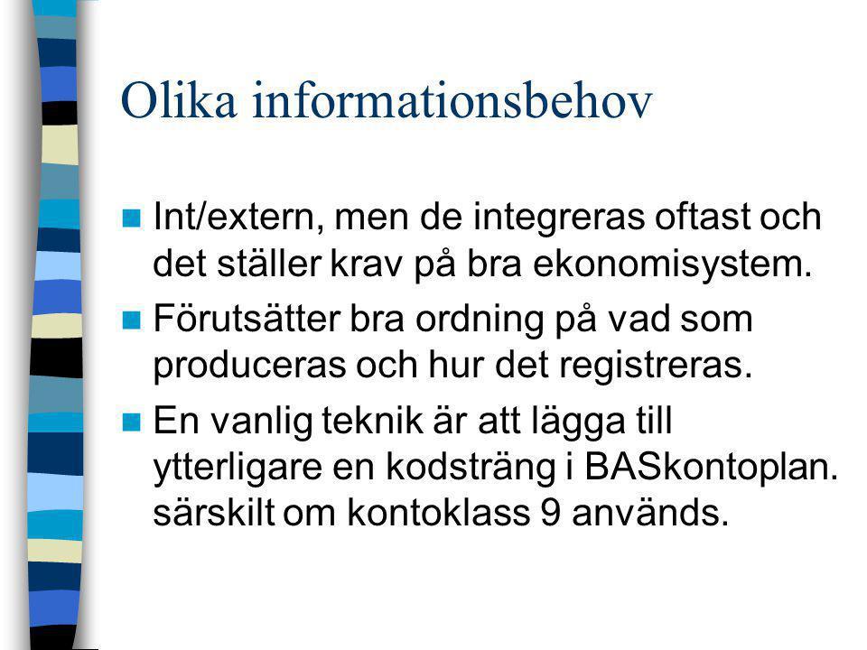 Olika informationsbehov  Int/extern, men de integreras oftast och det ställer krav på bra ekonomisystem.  Förutsätter bra ordning på vad som produce