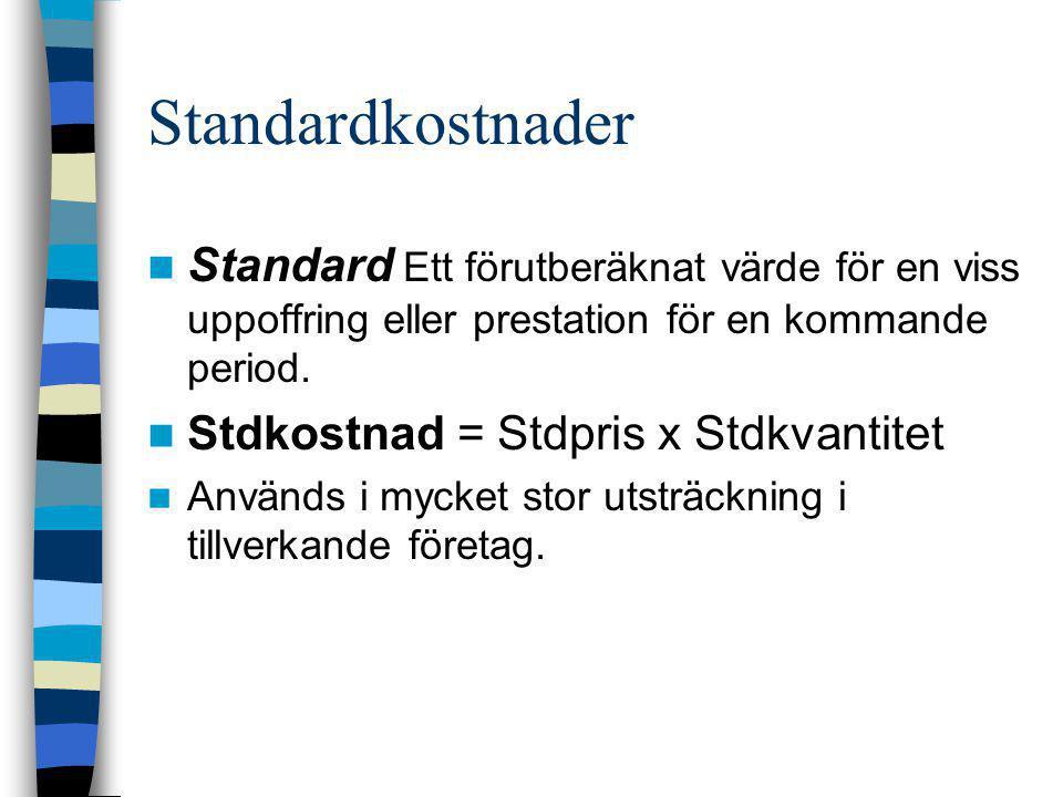 Standardkostnader  Standard Ett förutberäknat värde för en viss uppoffring eller prestation för en kommande period.  Stdkostnad = Stdpris x Stdkvant