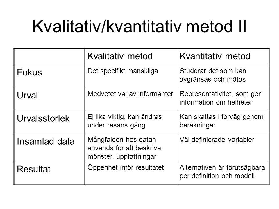 Kvalitativ/kvantitativ metod II Kvalitativ metodKvantitativ metod Fokus Det specifikt mänskligaStuderar det som kan avgränsas och mätas Urval Medvetet