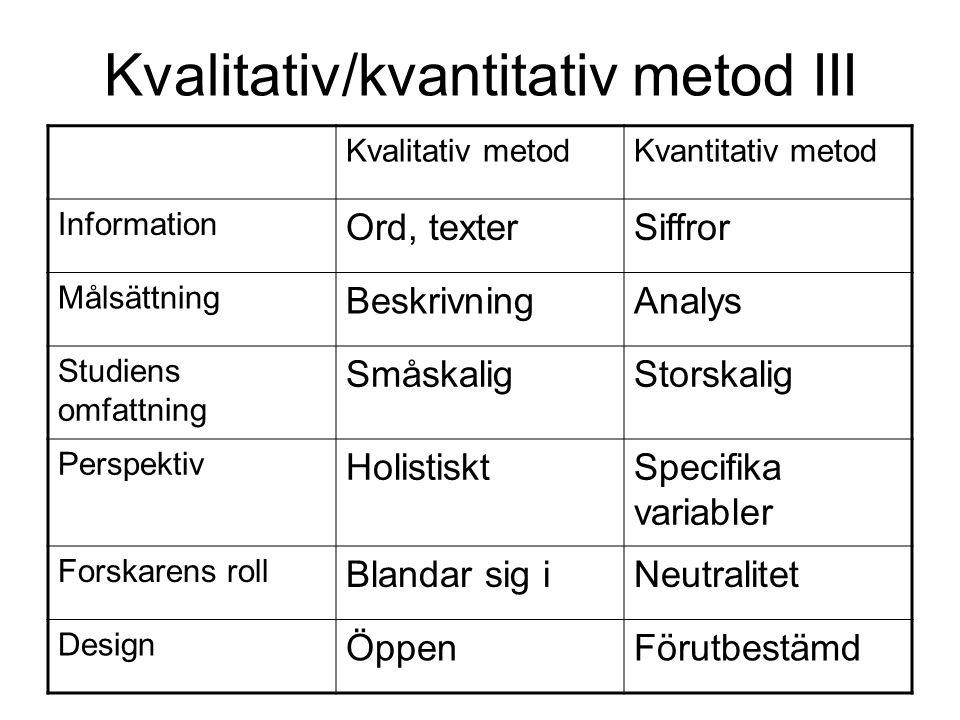 Kvalitativ/kvantitativ metod III Kvalitativ metodKvantitativ metod Information Ord, texterSiffror Målsättning BeskrivningAnalys Studiens omfattning Sm