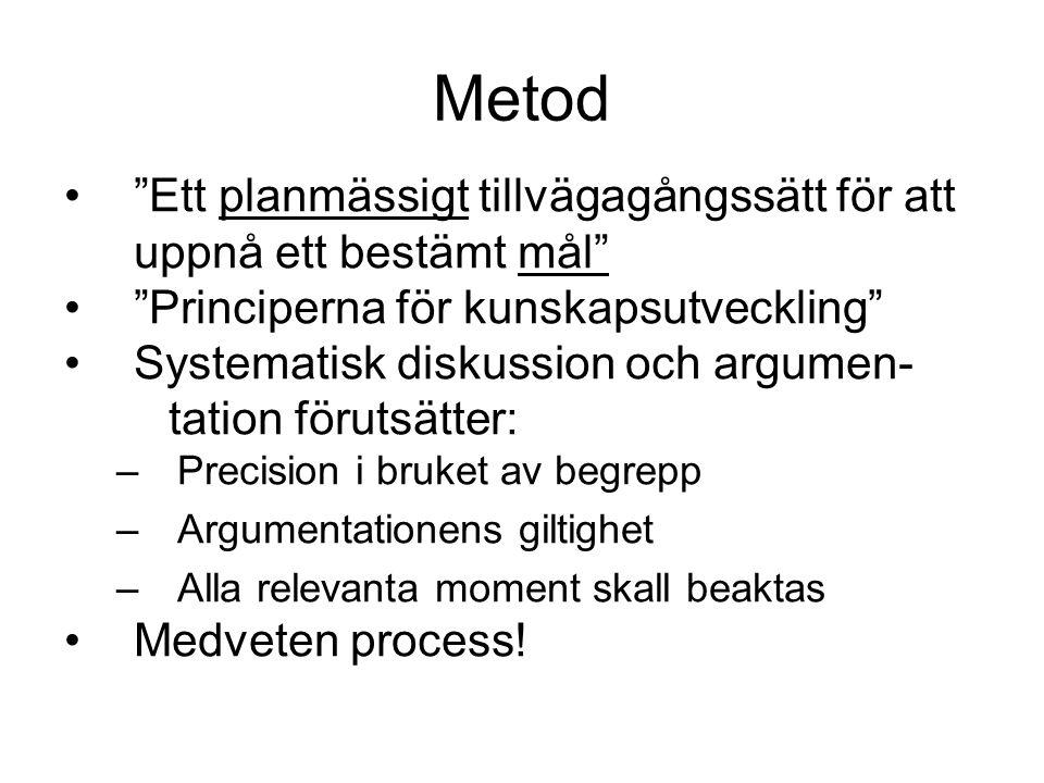 """Metod •""""Ett planmässigt tillvägagångssätt för att uppnå ett bestämt mål"""" •""""Principerna för kunskapsutveckling"""" •Systematisk diskussion och argumen- ta"""