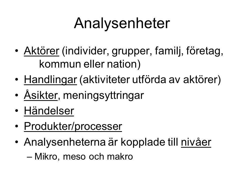 Analysenheter •Aktörer (individer, grupper, familj, företag, kommun eller nation) •Handlingar (aktiviteter utförda av aktörer) •Åsikter, meningsyttrin