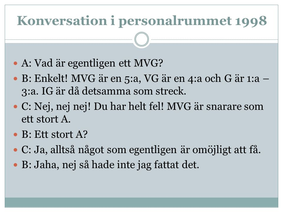 Konversation i personalrummet 1998  A: Vad är egentligen ett MVG.