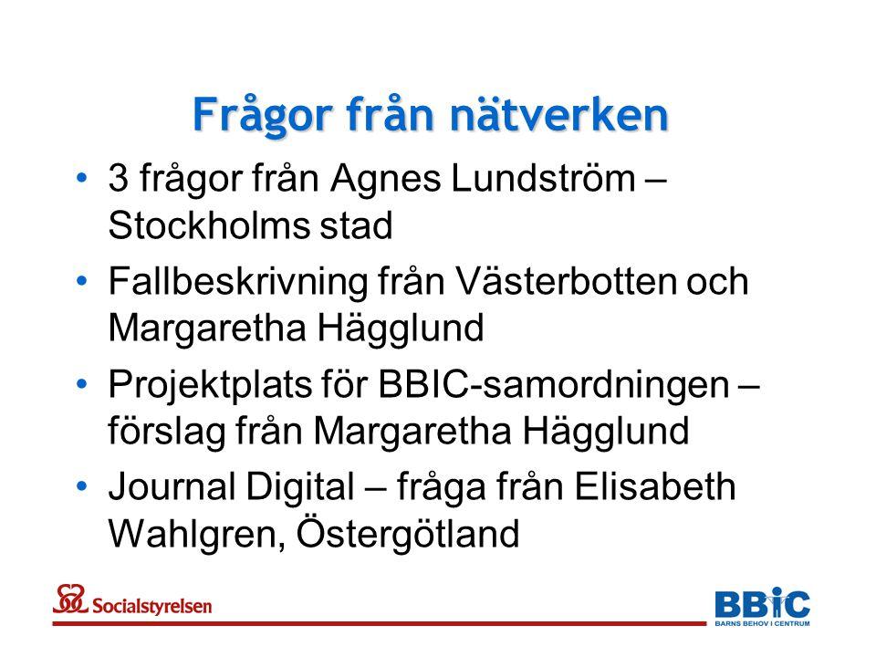 Frågor från nätverken •3 frågor från Agnes Lundström – Stockholms stad •Fallbeskrivning från Västerbotten och Margaretha Hägglund •Projektplats för BB