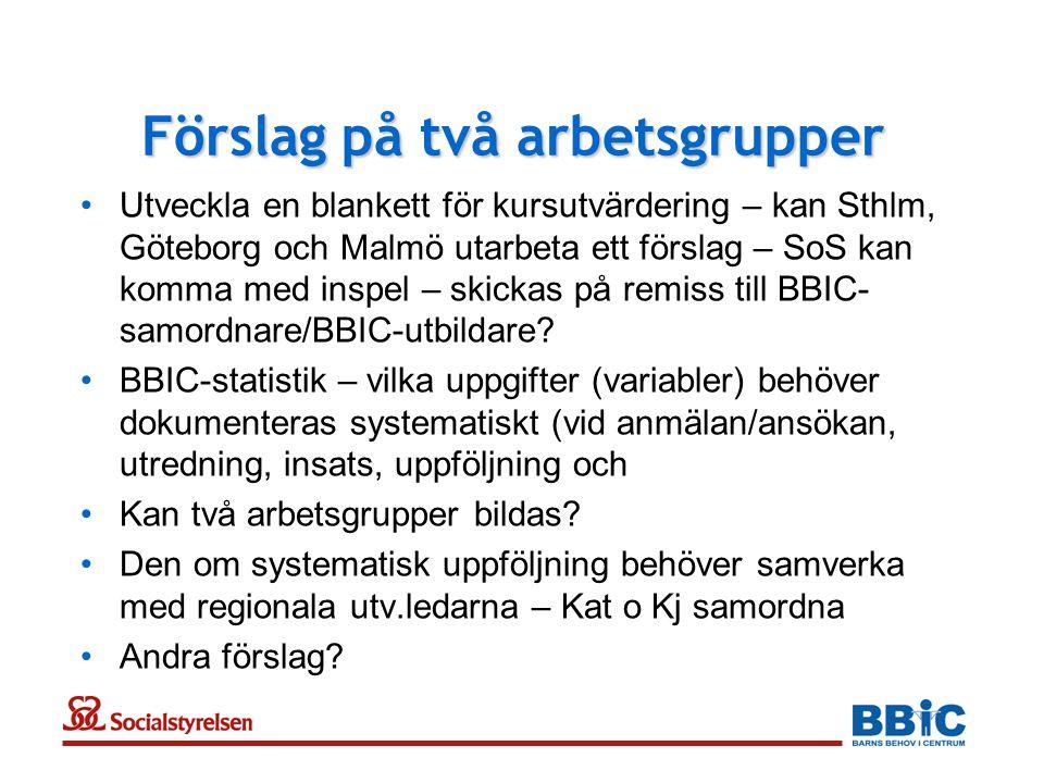 Förslag på två arbetsgrupper •Utveckla en blankett för kursutvärdering – kan Sthlm, Göteborg och Malmö utarbeta ett förslag – SoS kan komma med inspel