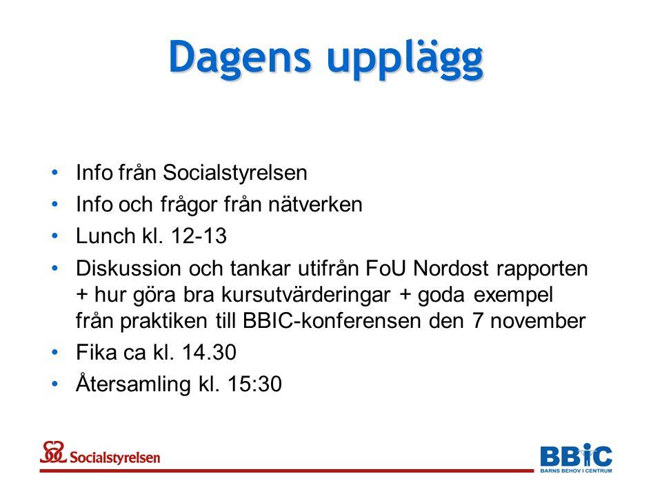 Dagens upplägg •Info från Socialstyrelsen •Info och frågor från nätverken •Lunch kl. 12-13 •Diskussion och tankar utifrån FoU Nordost rapporten + hur