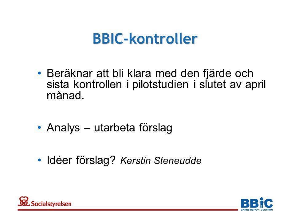BBIC-kontroller •Beräknar att bli klara med den fjärde och sista kontrollen i pilotstudien i slutet av april månad. •Analys – utarbeta förslag •Idéer
