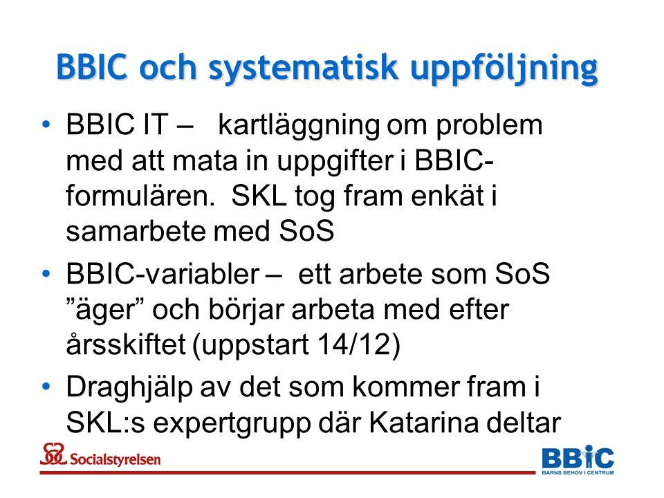 BBIC och systematisk uppföljning •BBIC IT – kartläggning om problem med att mata in uppgifter i BBIC- formulären. SKL tog fram enkät i samarbete med S