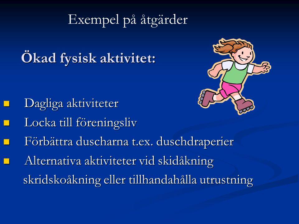  Dagliga aktiviteter  Locka till föreningsliv  Förbättra duscharna t.ex. duschdraperier  Alternativa aktiviteter vid skidåkning skridskoåkning ell