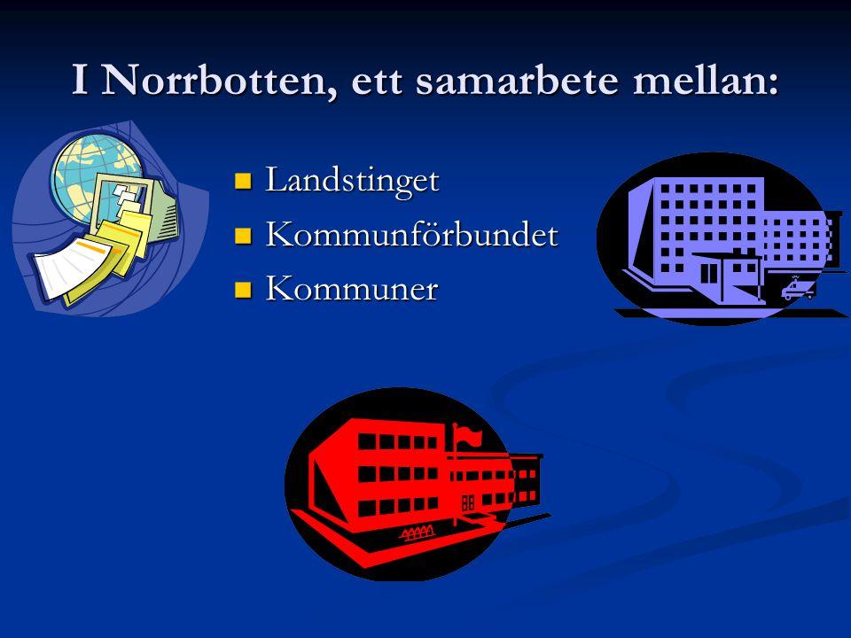 I Norrbotten, ett samarbete mellan:  Landstinget  Kommunförbundet  Kommuner