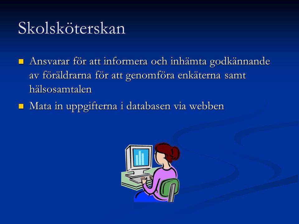 Skolsköterskan  Ansvarar för att informera och inhämta godkännande av föräldrarna för att genomföra enkäterna samt hälsosamtalen  Mata in uppgiftern