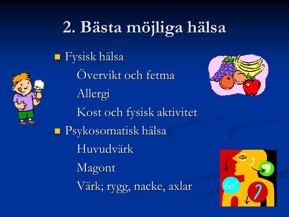 2. Bästa möjliga hälsa  Fysisk hälsa Övervikt och fetma Övervikt och fetma Allergi Allergi Kost och fysisk aktivitet Kost och fysisk aktivitet  Psyk