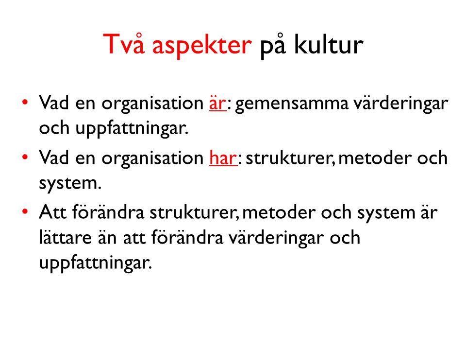 Två aspekter på kultur • Vad en organisation är: gemensamma värderingar och uppfattningar.