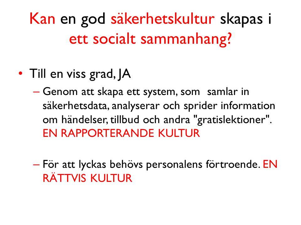 Kan en god säkerhetskultur skapas i ett socialt sammanhang.