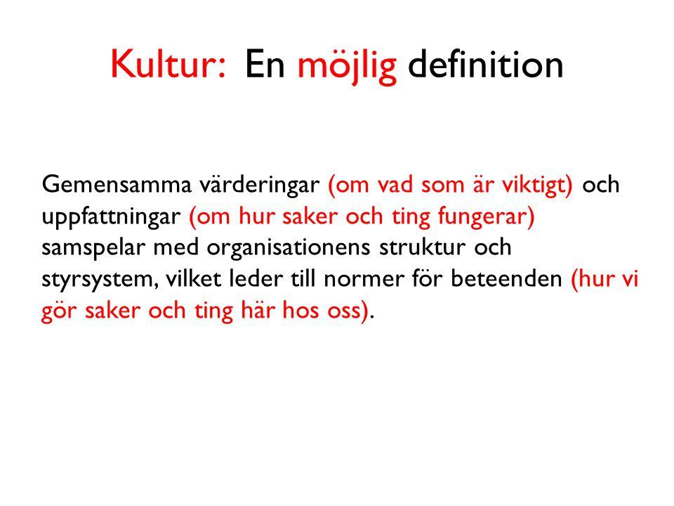 Kultur: En möjlig definition Gemensamma värderingar (om vad som är viktigt) och uppfattningar (om hur saker och ting fungerar) samspelar med organisationens struktur och styrsystem, vilket leder till normer för beteenden (hur vi gör saker och ting här hos oss).