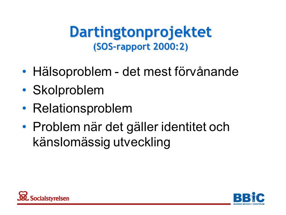 Dartingtonprojektet (SOS-rapport 2000:2) •Hälsoproblem - det mest förvånande •Skolproblem •Relationsproblem •Problem när det gäller identitet och känslomässig utveckling