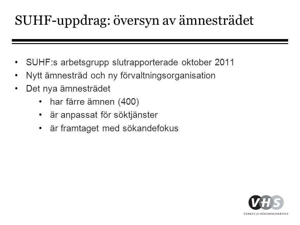 SUHF-uppdrag: översyn av ämnesträdet •SUHF:s arbetsgrupp slutrapporterade oktober 2011 •Nytt ämnesträd och ny förvaltningsorganisation •Det nya ämnest