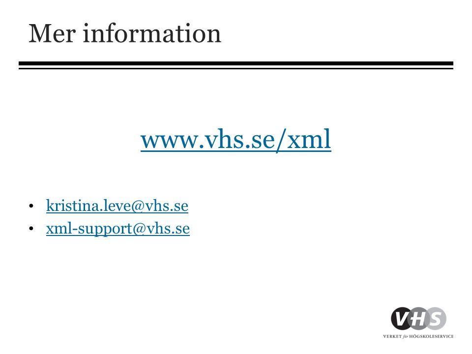 Mer information www.vhs.se/xml • kristina.leve@vhs.se kristina.leve@vhs.se • xml-support@vhs.se xml-support@vhs.se