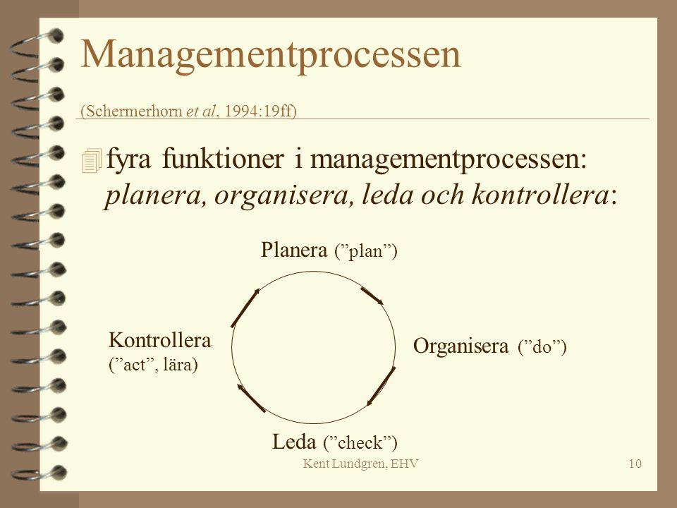 Kent Lundgren, EHV10 Managementprocessen (Schermerhorn et al, 1994:19ff) 4 fyra funktioner i managementprocessen: planera, organisera, leda och kontro