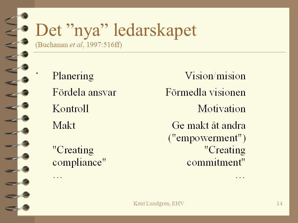 """Kent Lundgren, EHV14 Det """"nya"""" ledarskapet (Buchanan et al, 1997:516ff)."""