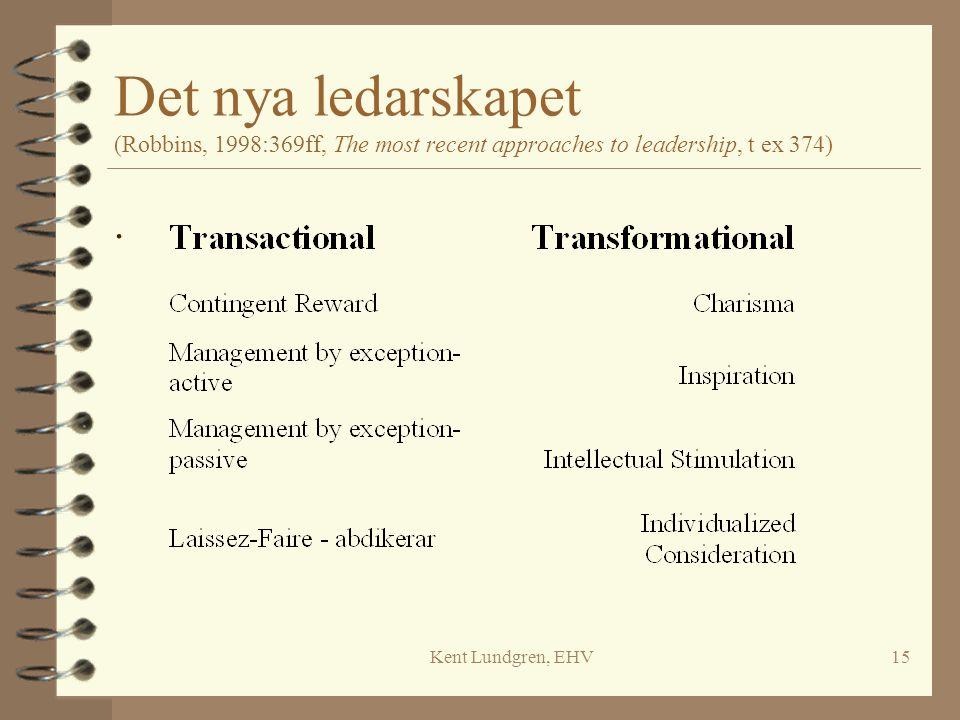 Kent Lundgren, EHV15 Det nya ledarskapet (Robbins, 1998:369ff, The most recent approaches to leadership, t ex 374).