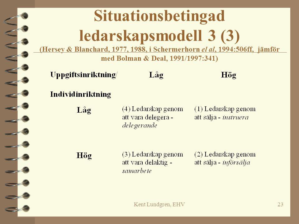 Kent Lundgren, EHV23 Situationsbetingad ledarskapsmodell 3 (3) (Hersey & Blanchard, 1977, 1988, i Schermerhorn el al, 1994:506ff, jämför med Bolman &