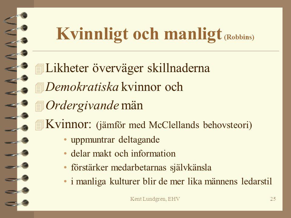 Kent Lundgren, EHV25 Kvinnligt och manligt (Robbins) 4 Likheter överväger skillnaderna 4 Demokratiska kvinnor och 4 Ordergivande män 4 Kvinnor: (jämfö