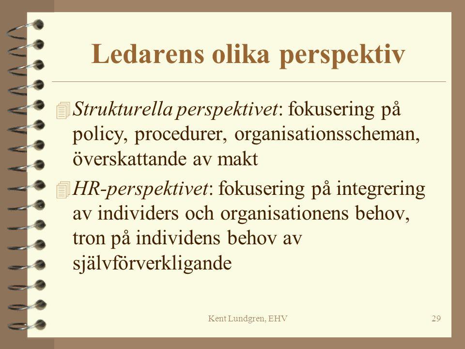 Kent Lundgren, EHV29 Ledarens olika perspektiv 4 Strukturella perspektivet: fokusering på policy, procedurer, organisationsscheman, överskattande av m