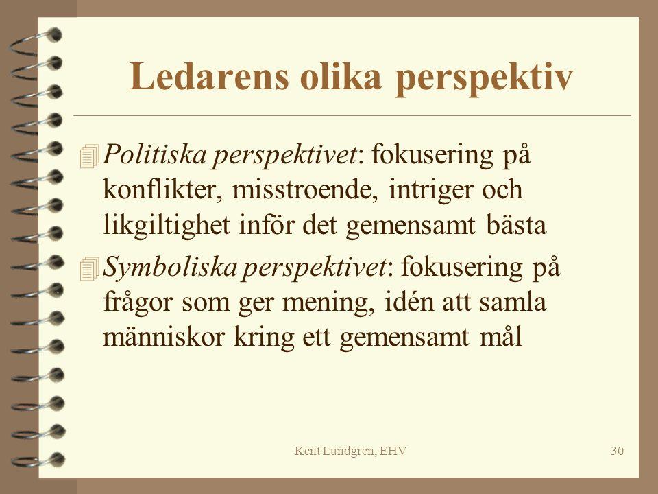 Kent Lundgren, EHV30 Ledarens olika perspektiv 4 Politiska perspektivet: fokusering på konflikter, misstroende, intriger och likgiltighet inför det ge