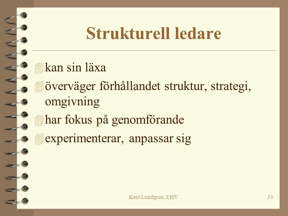 Kent Lundgren, EHV33 Strukturell ledare 4 kan sin läxa 4 överväger förhållandet struktur, strategi, omgivning 4 har fokus på genomförande 4 experiment