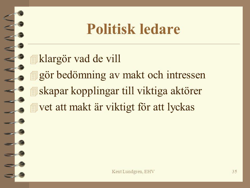 Kent Lundgren, EHV35 Politisk ledare 4 klargör vad de vill 4 gör bedömning av makt och intressen 4 skapar kopplingar till viktiga aktörer 4 vet att ma
