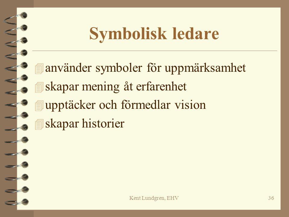 Kent Lundgren, EHV36 Symbolisk ledare 4 använder symboler för uppmärksamhet 4 skapar mening åt erfarenhet 4 upptäcker och förmedlar vision 4 skapar hi