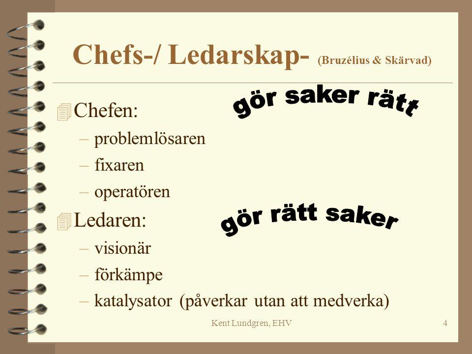 Kent Lundgren, EHV4 Chefs-/ Ledarskap- (Bruzélius & Skärvad) 4 Chefen: –problemlösaren –fixaren –operatören 4 Ledaren: –visionär –förkämpe –katalysato