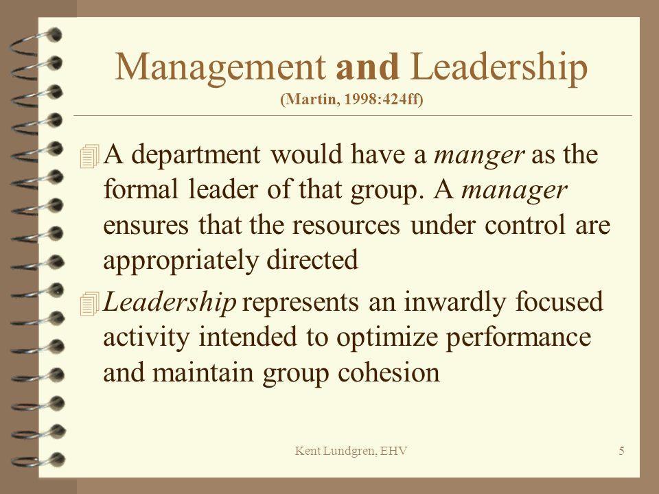 Kent Lundgren, EHV6 The management job matrix (Martin, 1998:426)