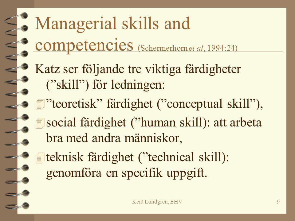 """Kent Lundgren, EHV9 Managerial skills and competencies (Schermerhorn et al, 1994:24) Katz ser följande tre viktiga färdigheter (""""skill"""") för ledningen"""