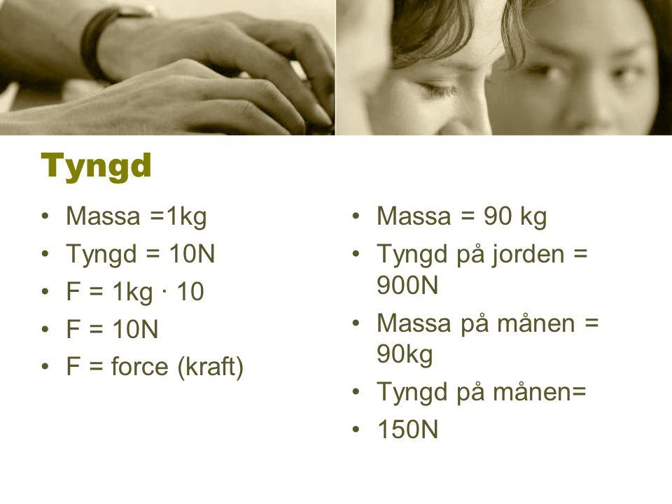 Tyngd •Massa =1kg •Tyngd = 10N •F = 1kg · 10 •F = 10N •F = force (kraft) •Massa = 90 kg •Tyngd på jorden = 900N •Massa på månen = 90kg •Tyngd på månen