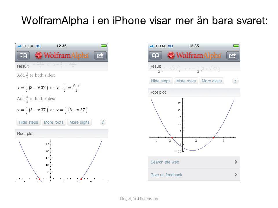 WolframAlpha i en iPhone visar mer än bara svaret: