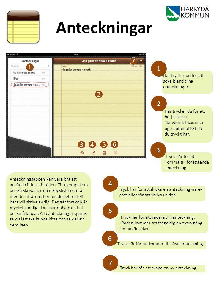 Tryck här för att radera din anteckning. iPaden kommer att fråga dig en extra gång om du är säker. Tryck här för att komma till föregående anteckning.