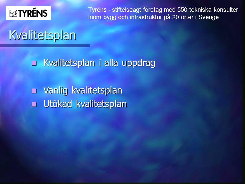 Tyréns - stiftelseägt företag med 550 tekniska konsulter inom bygg och infrastruktur på 20 orter i Sverige. Kvalitetsplan  Kvalitetsplan i alla uppdr