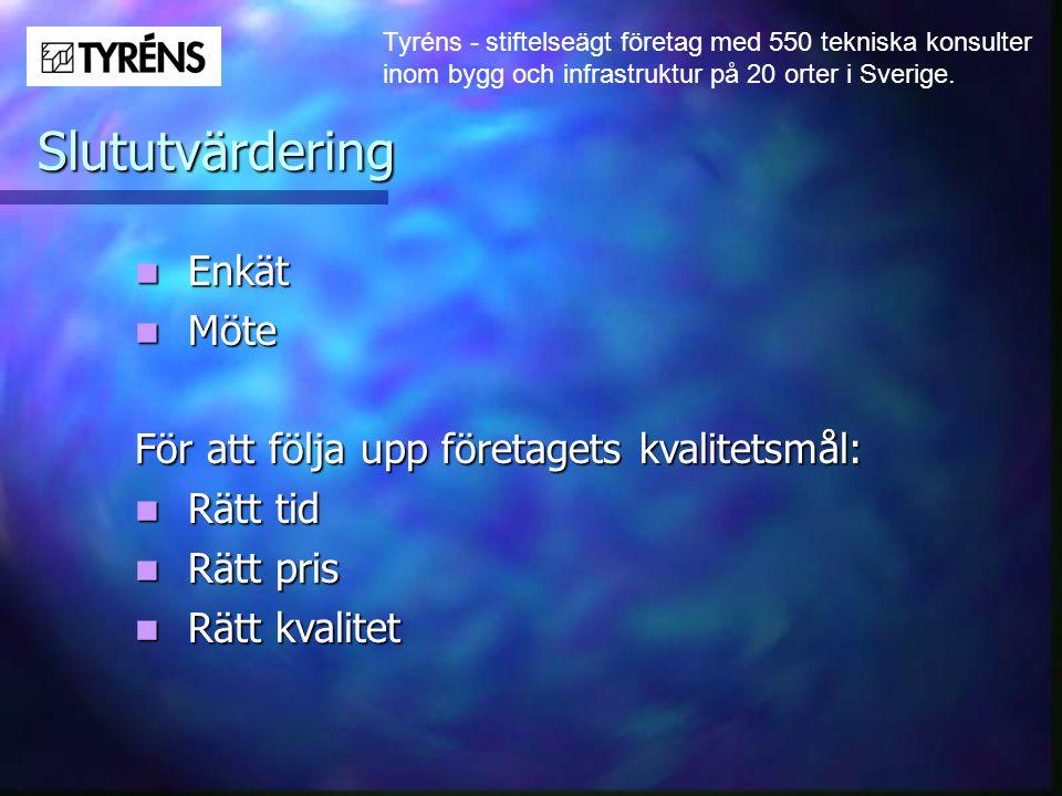 Tyréns - stiftelseägt företag med 550 tekniska konsulter inom bygg och infrastruktur på 20 orter i Sverige. Slututvärdering  Enkät  Möte För att föl