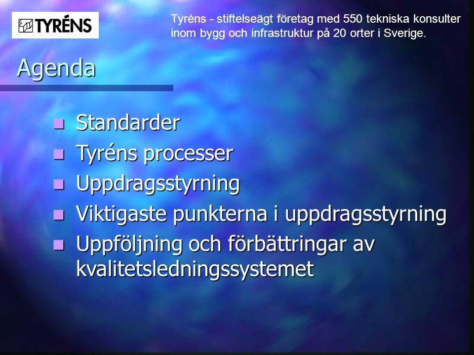 Tyréns - stiftelseägt företag med 550 tekniska konsulter inom bygg och infrastruktur på 20 orter i Sverige. Agenda  Standarder  Tyréns processer  U