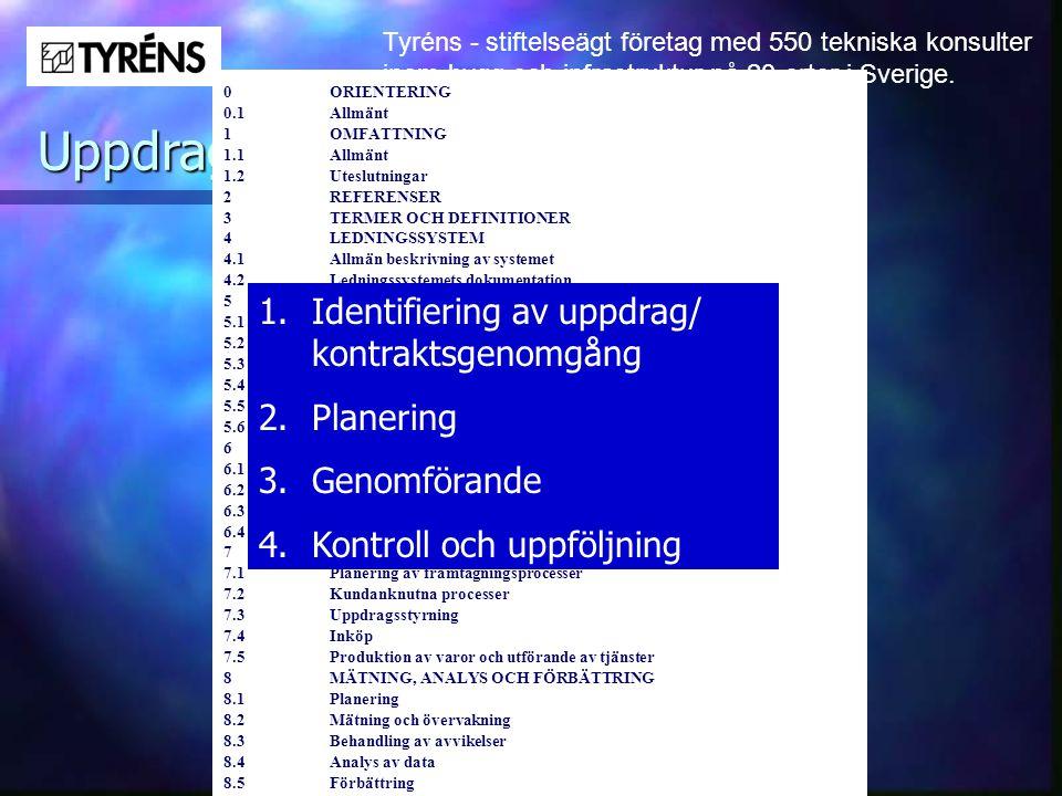 Tyréns - stiftelseägt företag med 550 tekniska konsulter inom bygg och infrastruktur på 20 orter i Sverige. Uppdragsstyrning 0ORIENTERING 0.1Allmänt 1